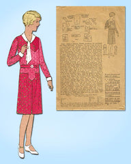 1920s Vintage Mail Order Sewing Pattern 7443 Girls Early 30s Flapper Dress Sz 12 - Vintage4me2
