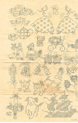 1940s Vintage Mail Order Embroidery Transfer 796 Cute Small Cross Stitch Motifs