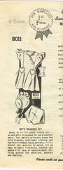 1930s Original Vintage Mail Order Pattern 8011 Toddler Girls Dress & Bonnet Sz 6