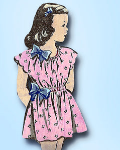 1940s Vintage Mail Order Sewing Pattern 8125 Very Easy Toddler Girls Dress Sz 2
