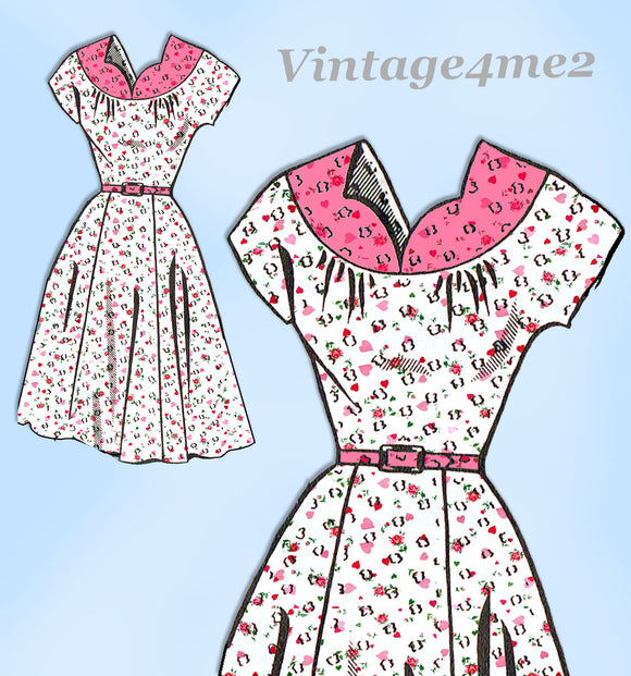 Mail Order 8177: 1950s Cute Misses Day Dress Sz 34 B Vintage Sewing Pattern