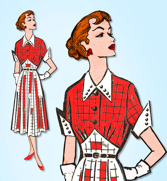 1950s Vintage Mail Order Sewing Pattern 8269 Uncut Misses Street Dress Size 33 B - Vintage4me2