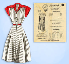 1940s Vintage Mail Order Sewing Pattern 8313 Misses WWII Shirtwaist Dress Sz 34B