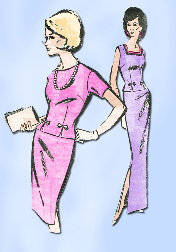 1960s Vintage Mail Order Sewing Pattern 8346 Misses 2 PC Dress or Gown 32 B