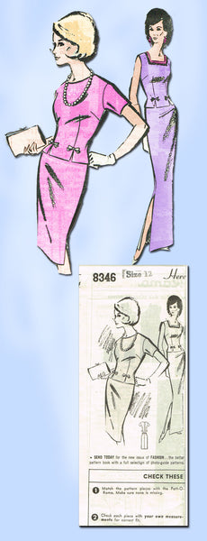 1960s Vintage Misses 2 Pc Dress or Gown Mail Order Sewing Pattern 8346 Size 32 Bust