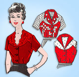1950s Vintage Mail Order Sewing Pattern 8356 Charming Misses Blouse Set Sz 36 B