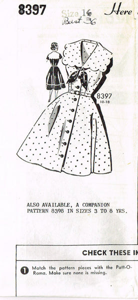 1950s Vintage Mail Order Sewing Pattern 8397 Uncut Misses Sailor Dress Sz 16 36B