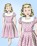 1940s Vintage Mail Order Sewing Pattern 8415 Pretty Girls WWII Dress Size 14 32B - Vintage4me2