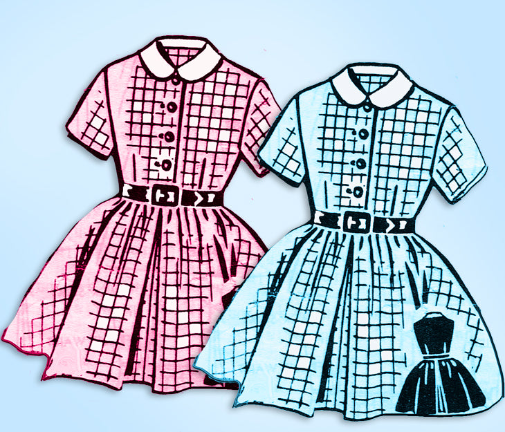1950s Original Vintage Mail Order Pattern 8421 Little Girls Shirtwaist Dress Sz6