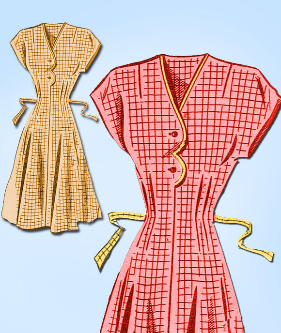 1940s Vintage Mail Order Sewing Pattern 8422 Uncut Misses WWII House Dress Sz 14 - Vintage4me2