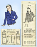 1940s Vintage Mail Order Sewing Pattern 8430 Misses WWII Ration Jacket Sz 13 31B - Vintage4me2