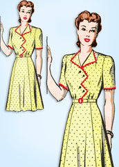 1940s Original Vintage Mail Order Sewing Pattern 8452 Misses WWII Dress Sz 34 B
