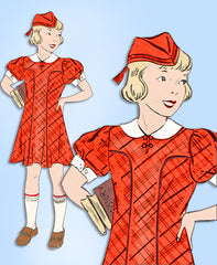 1930s Vintage Mail Order Sewing Pattern 8691 Toddler Girls Dress & Tam Hat Sz 6