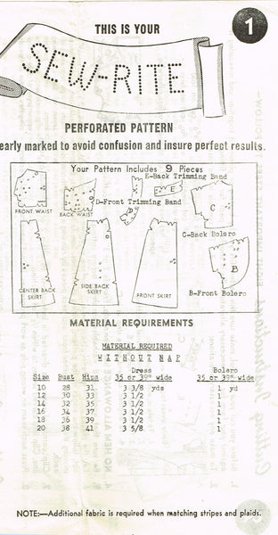 1950s Vintage Mail Order Sewing Pattern 8713 Misses Halter Sun Dress Size 12 30B
