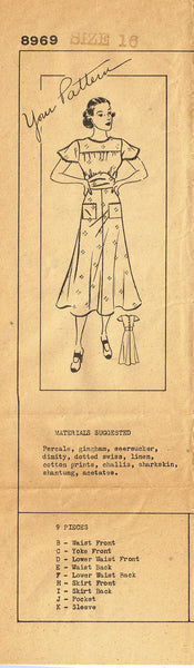 1940s Vintage 1937 Mail Order Sewing Pattern 8969 Misses Street Dress Size 16 - Vintage4me2