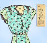 1940s Vintage Mail Order Sewing Pattern 8976 Plus Size Scalloped Dress Sz 40 B