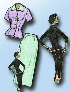 1950s Vintage Marian Martin Sewing Pattern 9026 Misses Slender Suit Size 18 36B