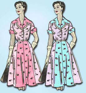 1950s Vintage Marian Martin Sewing Pattern 9030 Plus Size Street Dress 41 Bust
