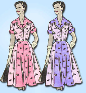 1950s Vintage Marian Martin Sewing Pattern 9030 Misses Shirtwaist Dress 35 Bust - Vintage4me2