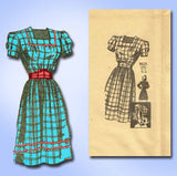 1940s Vintage Marian Martin Sewing Pattern 9031 Misses WWII Dress Hat Sz 16 34B - Vintage4me2