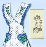 1940s Vintage Mail Order Sewing Pattern 9111 Misses One Yard Apron Sz 36 to 38 Bust