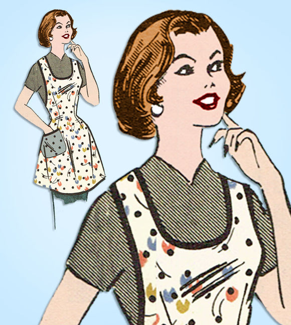 1950s Vintage Mail Order Sewing Pattern 9134 Misses Farm Kitchen Apron Fits Most