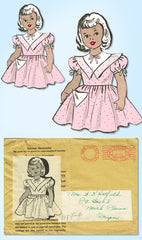 1940s Original Vintage Marian Martin Sewing Pattern 9154 Cute Girls Dress Size 8