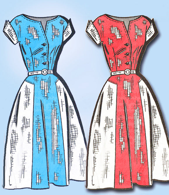 1950s Vintage Marian Martin Sewing Pattern 9213 Misses Street Dress Size 14 34B