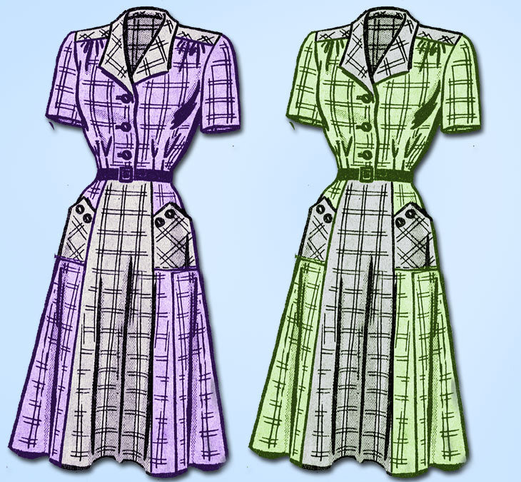 1940s Vintage Mail Order Sewing Pattern 9231 Women's Shirtwaist Dress 38 Bust