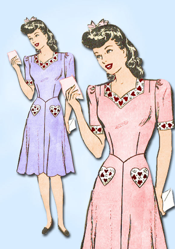 1940s Vintage Misses' WWII Dress 1943 Marian Martin Sewing Pattern 9273 Size 18