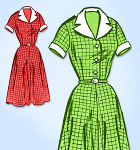 1950s VTG Marian Martin Sewing Pattern 9310 Uncut Plus Size Shirtwaist Dress 45B - Vintage4me2
