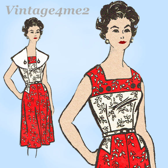 Marian Martin 9342: 1960s Charming Misses Sun Dress Sz 37 B Vintage Sewing Pattern