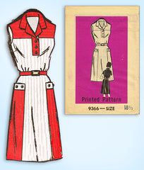 1960s Vintage Mail Order Sewing Pattern 9366 Womens Sleeveless House Dress 39 B
