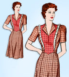 1940s Vintage Marian Martin Sewing Pattern 9566 WWII Plus Size Dress Sz 42 Bust
