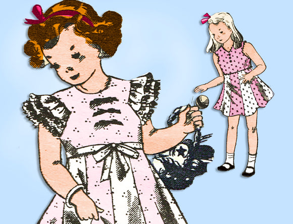 Marian Martin 9669: 1940s Little Girls Dress & Slip Sz 8 Vintage Sewing Pattern - Vintage4me2