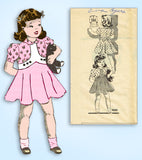 1930s Vintage Marian Martin Sewing Pattern 9680 Cute Toddler Girls Dress Size 2