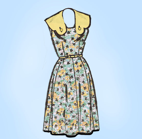 Anne Adams 4674: 1950s Misses Sun Dress w Collar Sz 39 B Vintage Sewing Pattern - Vintage4me2