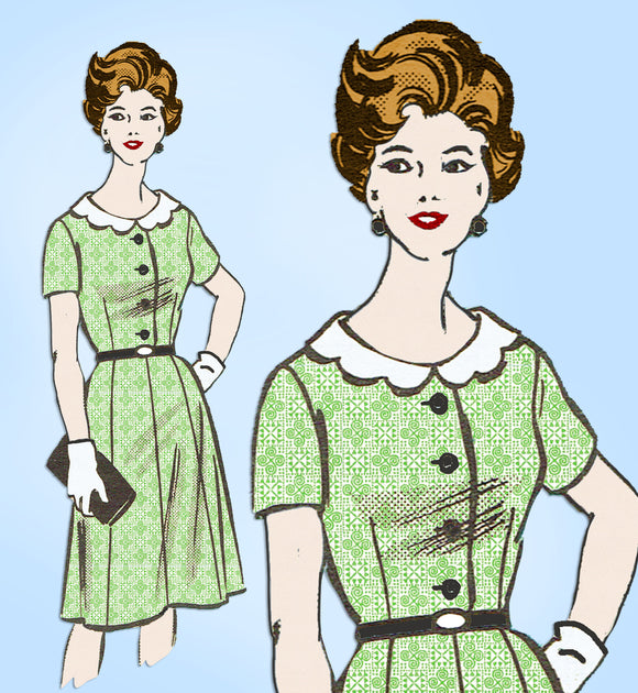 Anne Adams 4973: 1960s Misses Day Dress Sz 35 Bust Vintage Sewing Pattern - Vintage4me2