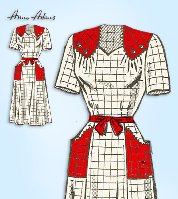 1950s Original Vintage Anne Adams Sewing Pattern 4980 Womens Dress Size 38 Bust