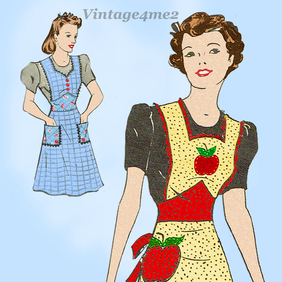 Anne Adams 4981: 1930s Misses Farm Kitchen Apron 40-42 B Vintage Sewing Pattern - Vintage4me2