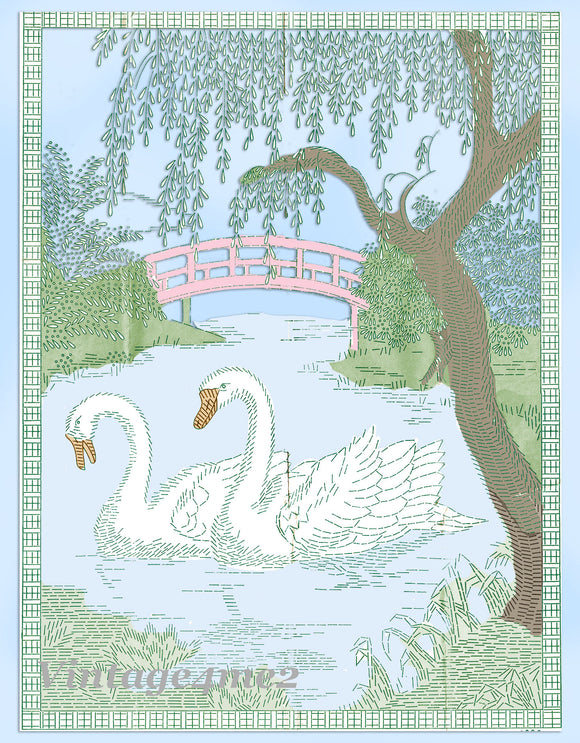 1940s Vintage Alice Brooks Embroidery Transfer 5890 Uncut Swan Scene Wall Hanging