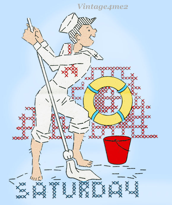 1940s Vintage Alice Brooks Embroidery Transfer 6946 Uncut X-Stitch Sailor DOW Tea Towels
