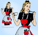 Alice Brooks 7458: 1940s Uncut Misses Heart Apron Vintage Transfer Sewing Pattern