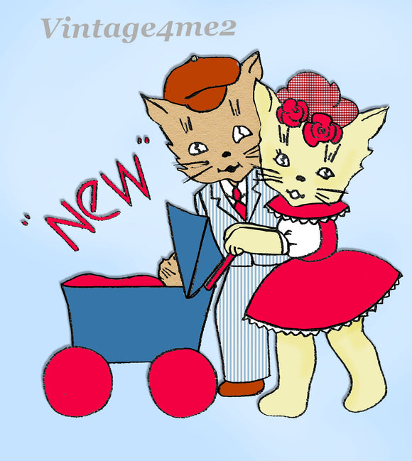 1950s Anne Cabot Embroidery Transfer 5095 Uncut Honeymoon Kitten Tea Towel Set