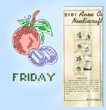 1950s Anne Cabot Embroidery Transfer 5181 Uncut Gingham Fruit Tea Towels