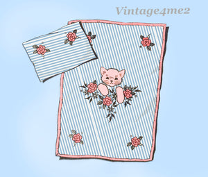 1950s Vintage Anne Cabot Embroidery Transfer 5375 Uncut Baby Crib Set Pattern