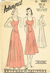 1930s Original Vintage Advance Pattern 1880 Misses Evening Slip or Dress Size 34B