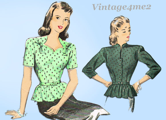 1940s Vintage Advance Sewing Pattern 4044 Uncut Misses Peplum Blouse 32 B