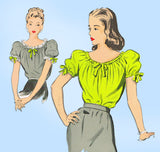 1940s Vintage Advance Sewing Pattesrn 4091 WWII Misses Peasants Blouse Size 12