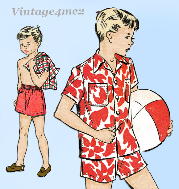 1940s Vintage Advance Sewing Pattern 5064 Toddler Boy's Swim Suit & Shirt Sz 4